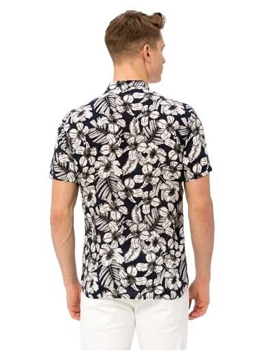 LC Waikiki Çiçekli Kısa Kollu Gömlek Lacivert